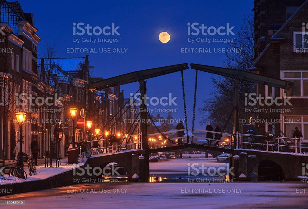 Kerkbrug moon royalty-free stock photo