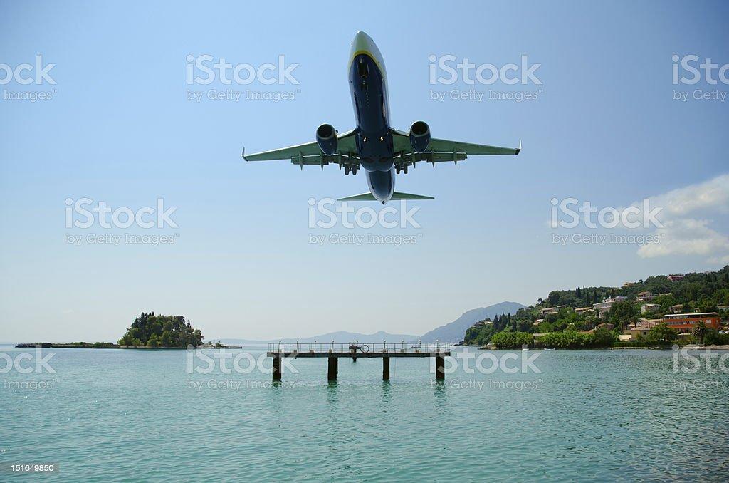 Kerkyra Airport Landing stock photo
