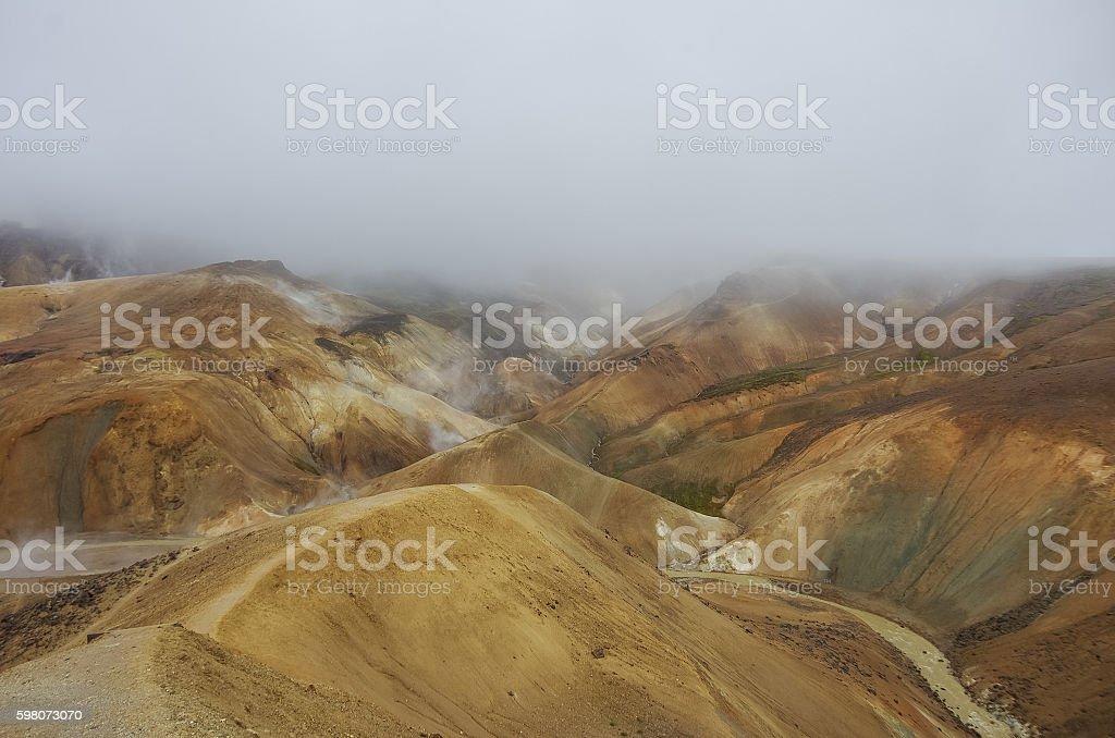 Kerlingarfjoll or The Ogress' Mountains, a volcanic mountain ran stock photo