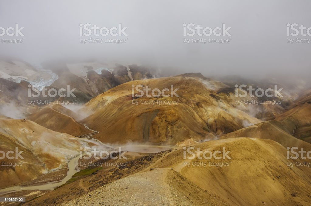 Kerlingarfjoll or The Ogress' Mountains, a volcanic mountain range situated in the highlands of Iceland. Steam from inside the earth stock photo