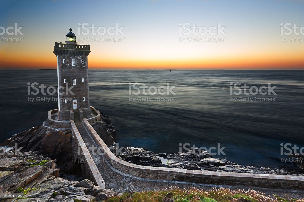 Kermorvan Lighthouse after sunset, Brittany, France stock photo