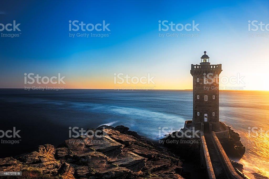 Kermorvan Lighthouse before sunset, Brittany, France stock photo