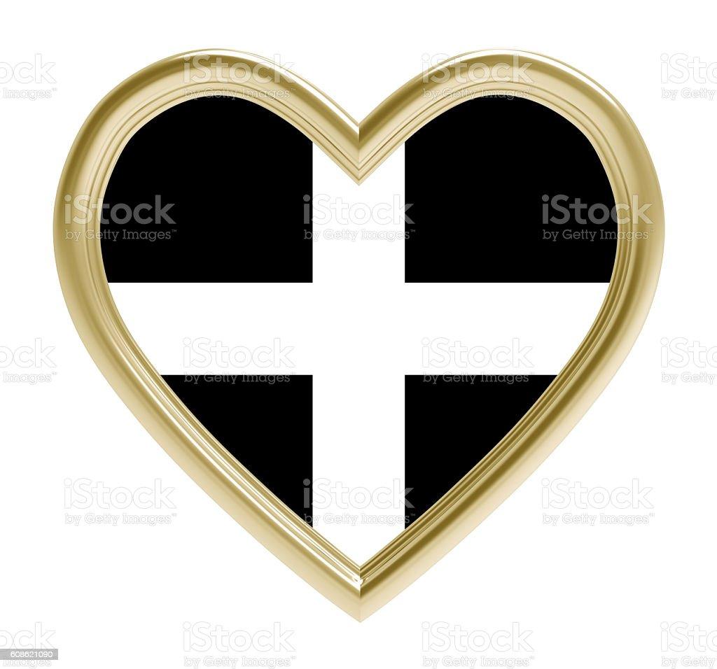 Kernow Cornwall flag in golden heart isolated on white stock photo