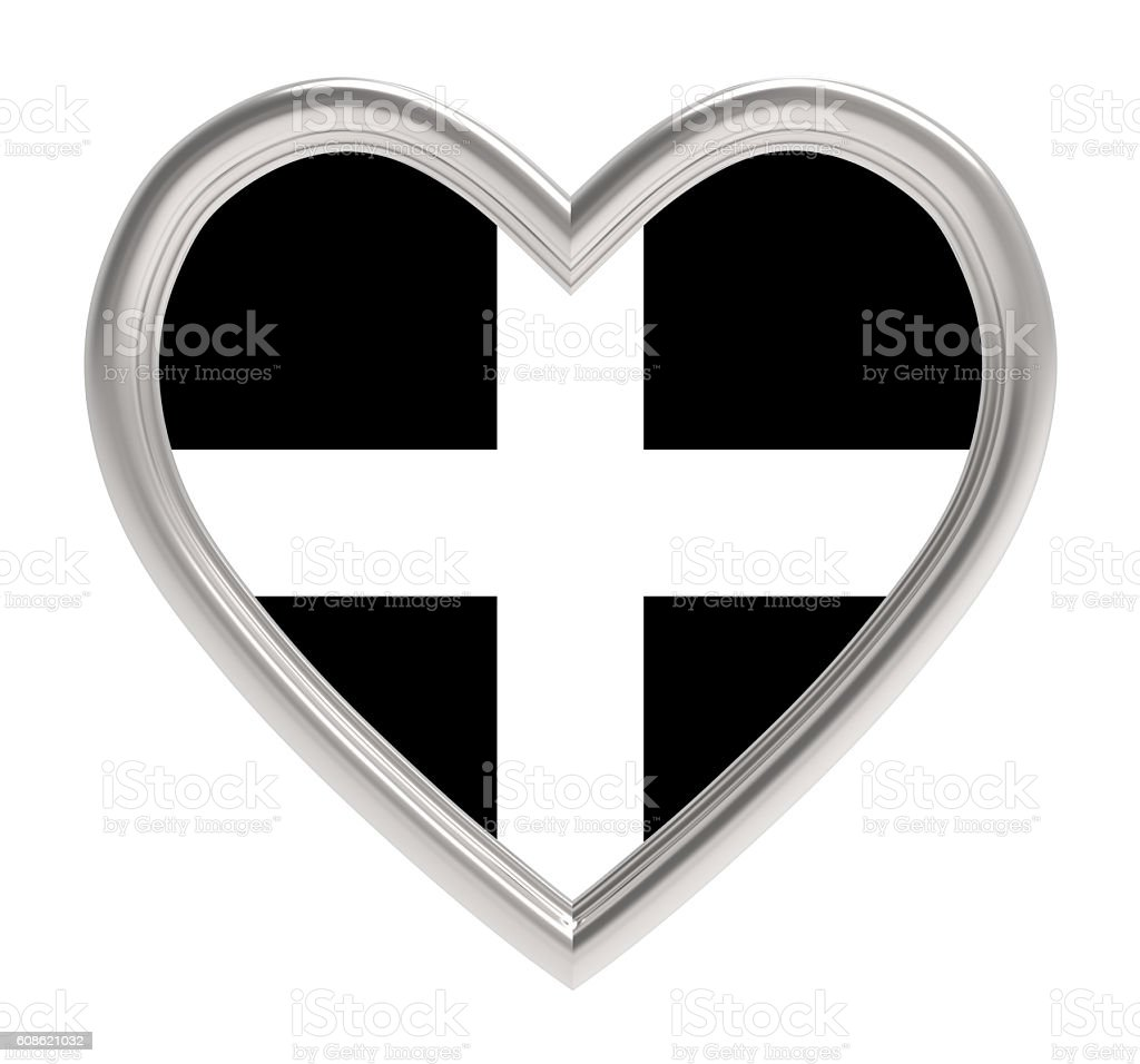 Kernow Cornwall flag in silver heart isolated on white stock photo
