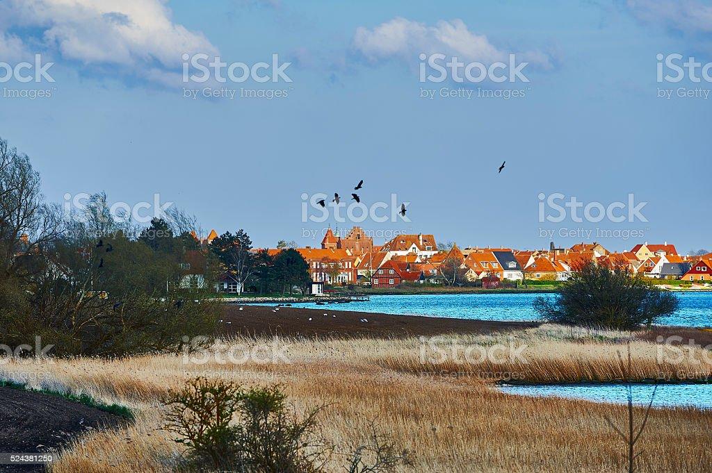 Kerteminde town at the inlet stock photo