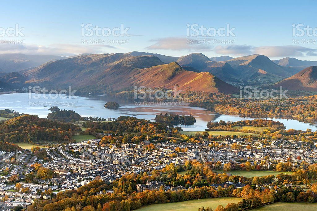 Keswick and Derwent Water, Lake District stock photo