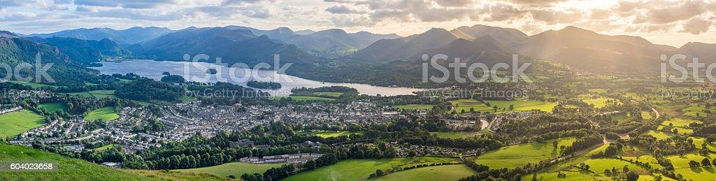 Keswick and Derwentwater panorama. stock photo