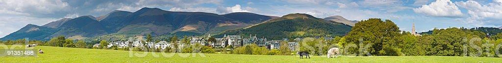 Keswick and Skiddaw, Lake District, UK stock photo