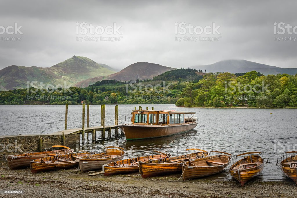 Keswick Boat Landing With Moody Cloudy Sky And Mountains. stock photo