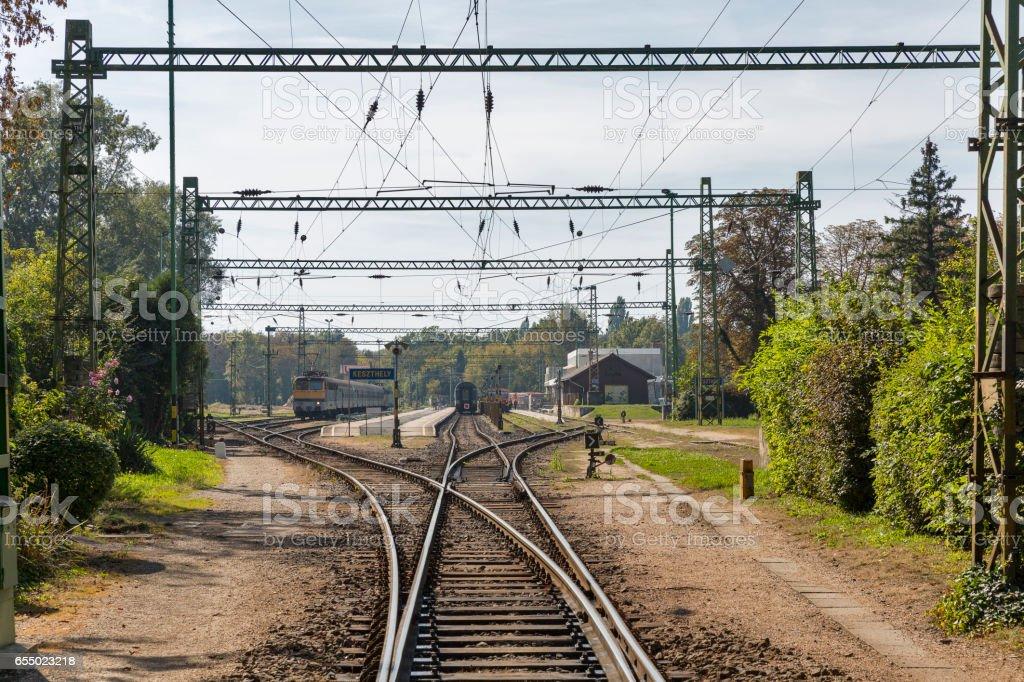 Keszthely passenger train station, Lake Balaton, Hungary. stock photo