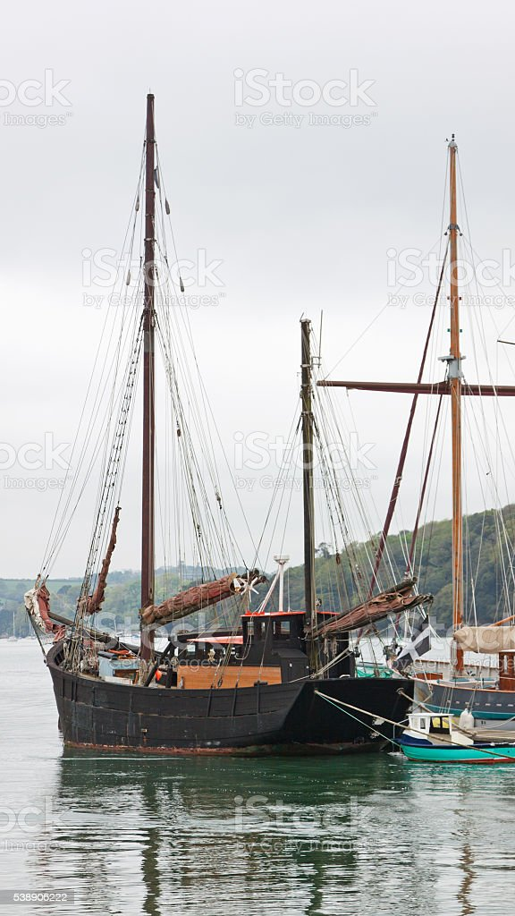 Ketch moored in the Fal estuary in Cornwall UK stock photo