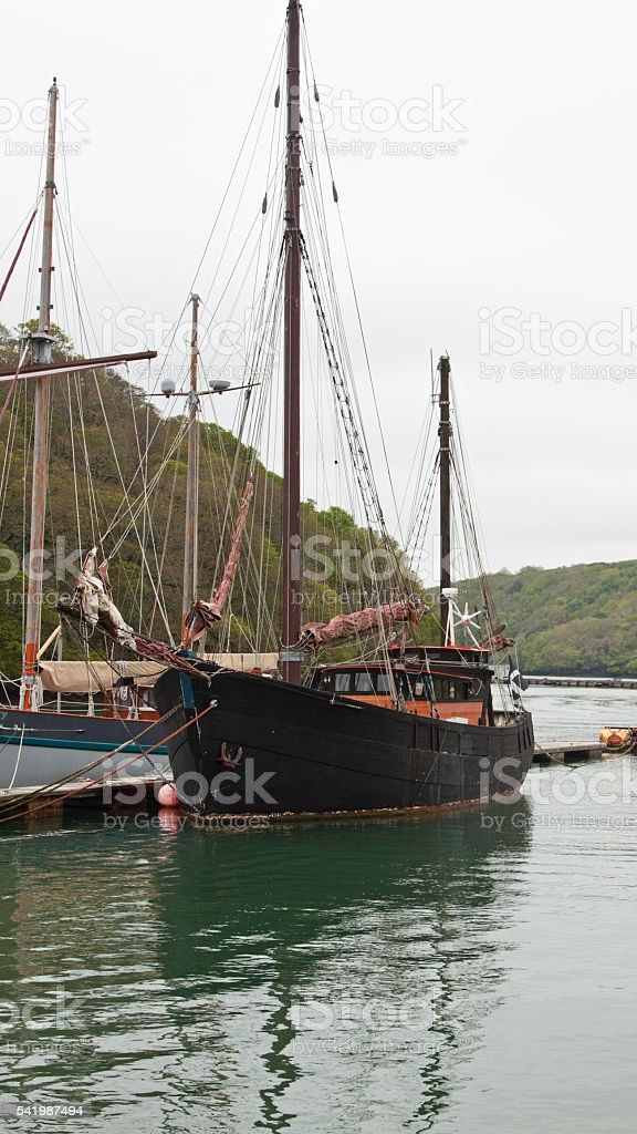 Ketch moored on the river Fal in Cornwall UK stock photo