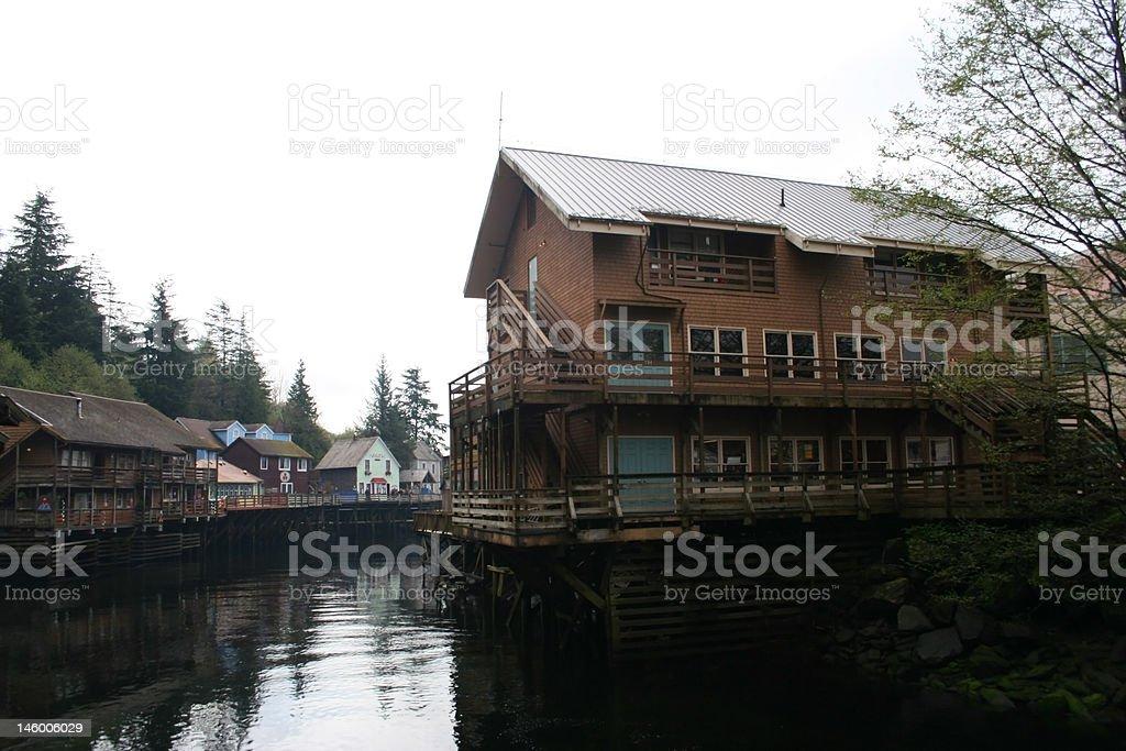 Ketchikan, Creek Street in Alaska stock photo
