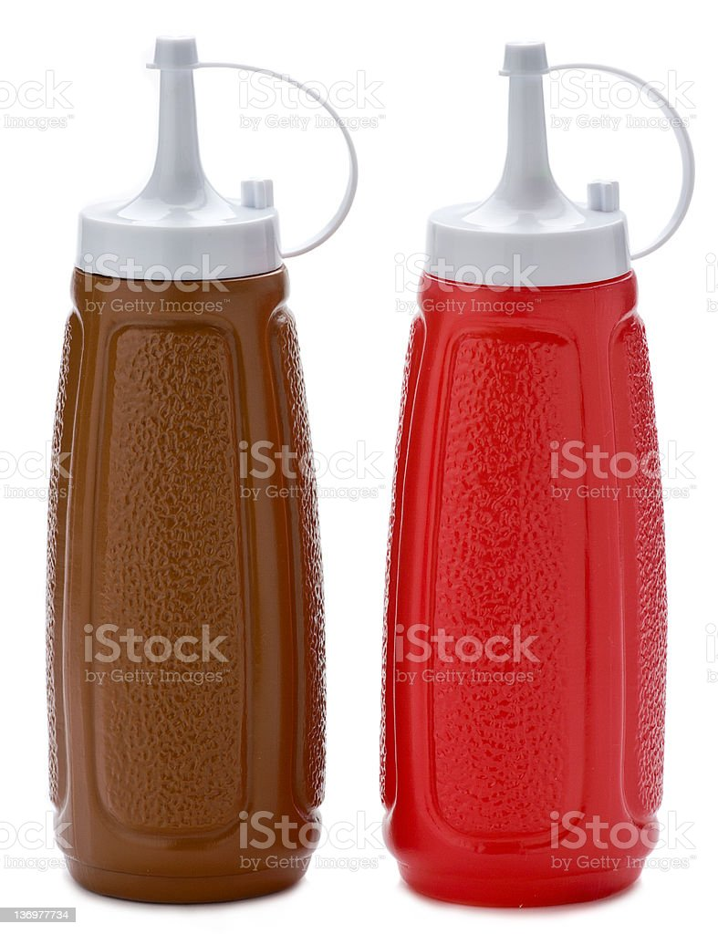 Ketchup and brown sauce bottles stock photo