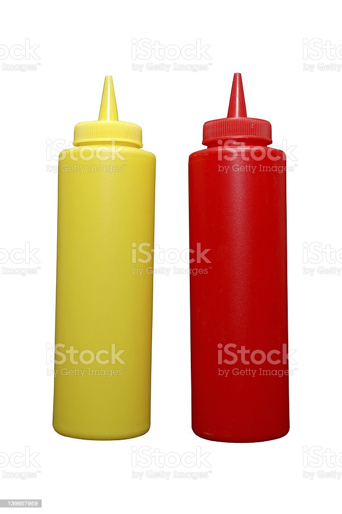 Ketchup and Mustard Bottles Isolated stock photo