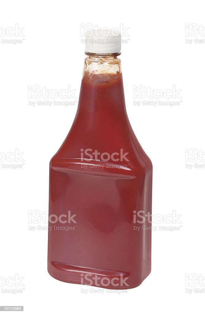 Ketchup bottles without label with white background stock photo