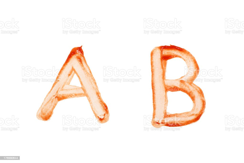 Ketchup Letter A and B royalty-free stock photo