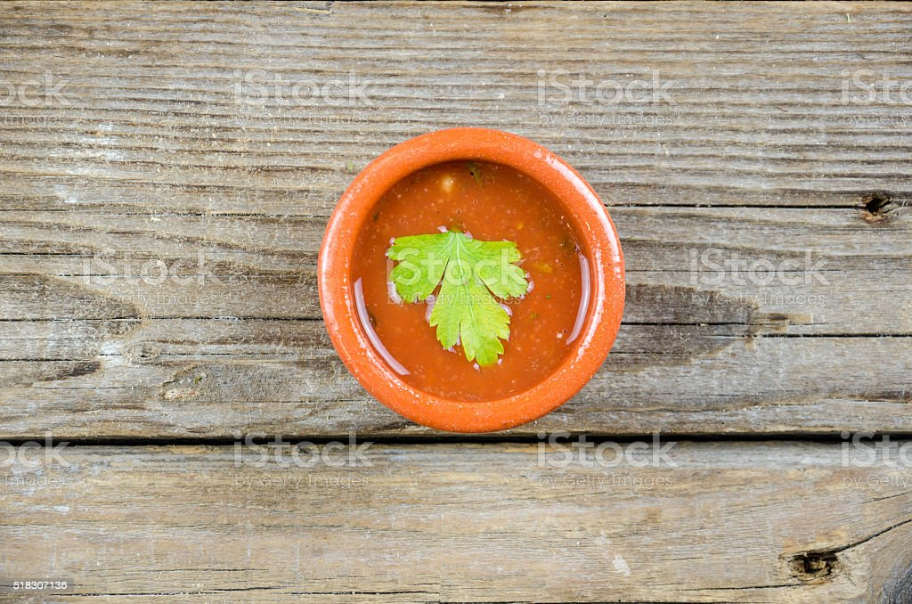 Ketchup or chutney or  ljutenica on the old  table stock photo
