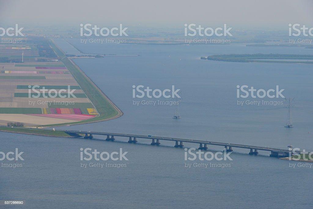 Ketelbrug over the Ketelmeer and IJsselmeer in The Netherlands stock photo