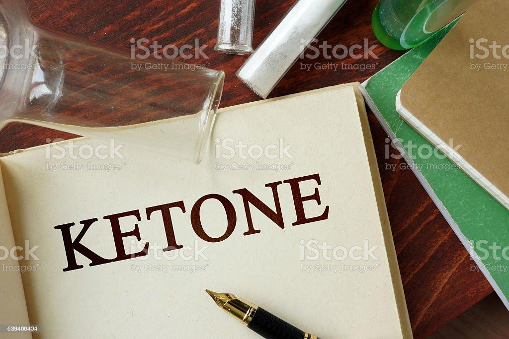 Ketone written on a page. stock photo