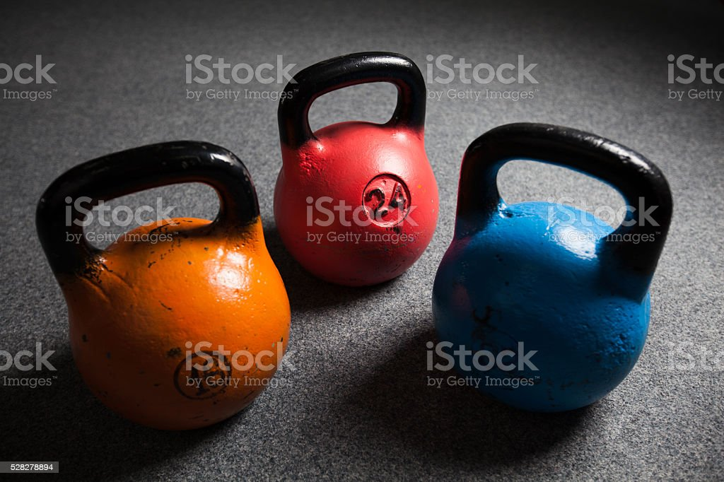 Kettle Bell Weight Steel in a gym stock photo