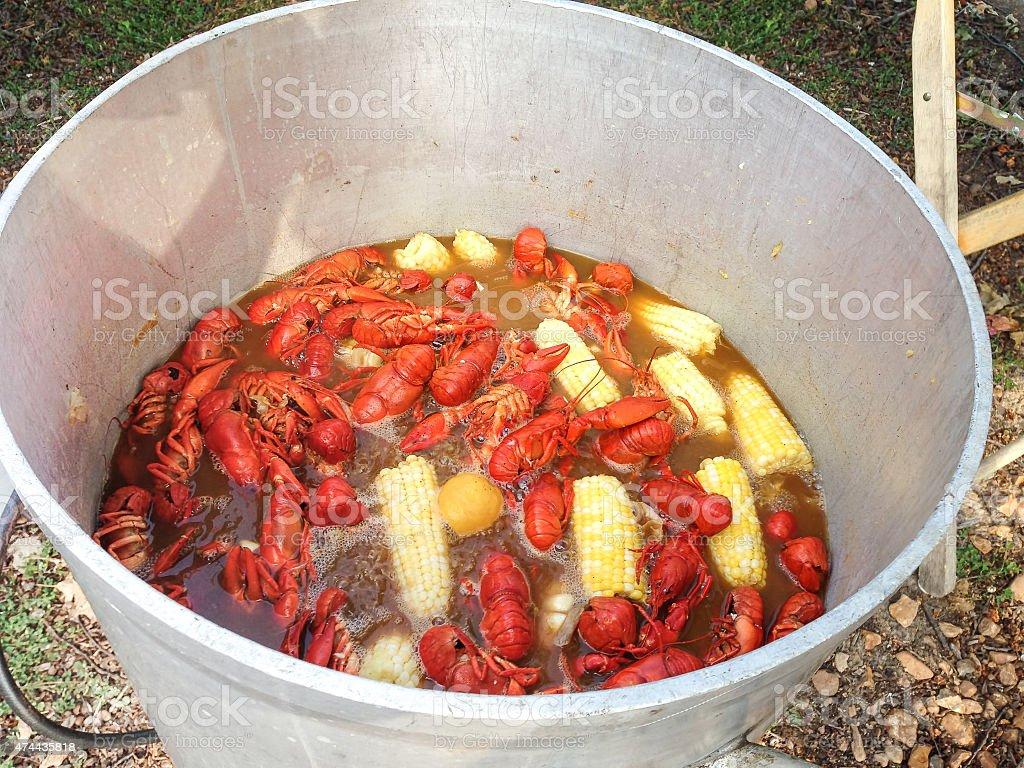 Kettle full of crawfish at a crawfish boil stock photo