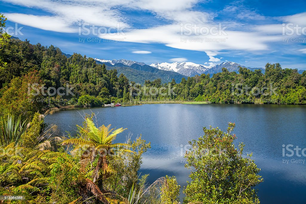 Kettle lake Mapourika in New Zealand stock photo