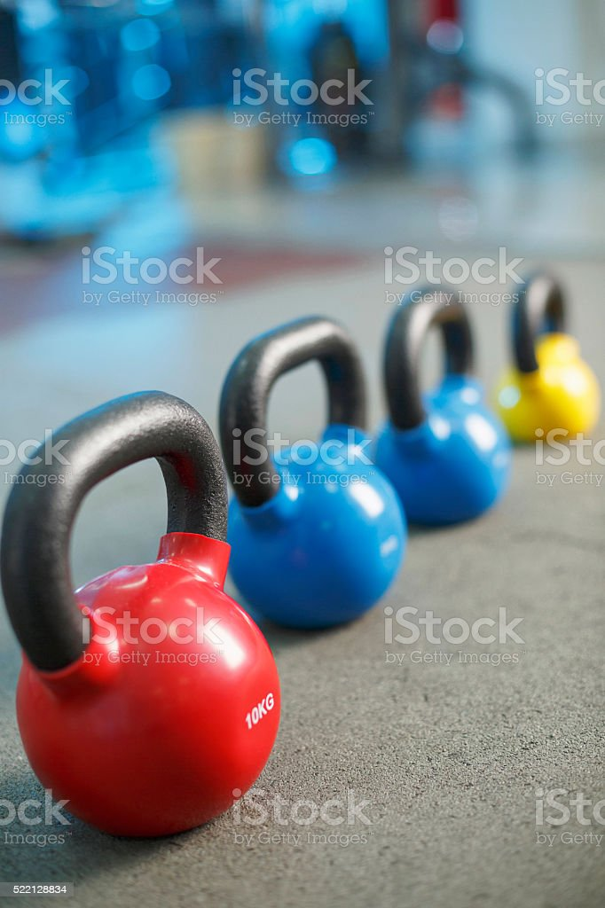 Kettlebell at the gym   Fitness   Sports training   background stock photo