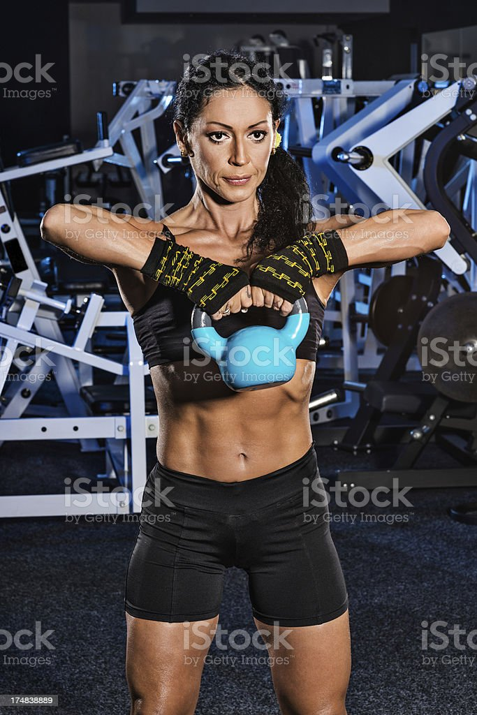 Kettlebell chin-ups royalty-free stock photo