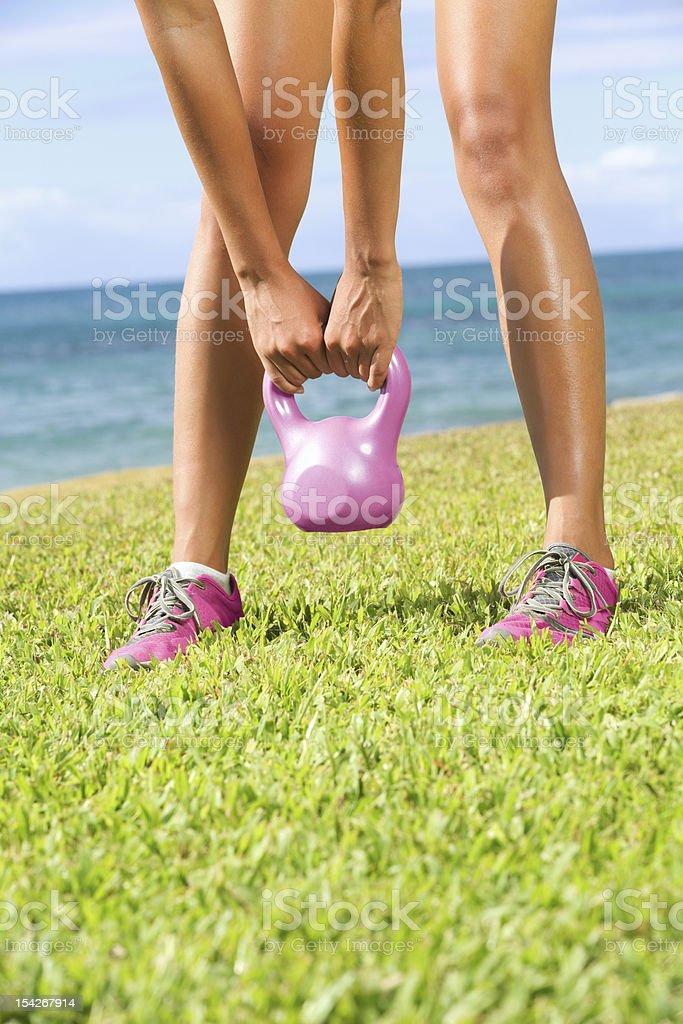 Kettlebell fitness training woman stock photo