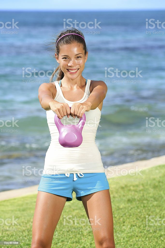 Kettlebell gym fitness woman royalty-free stock photo