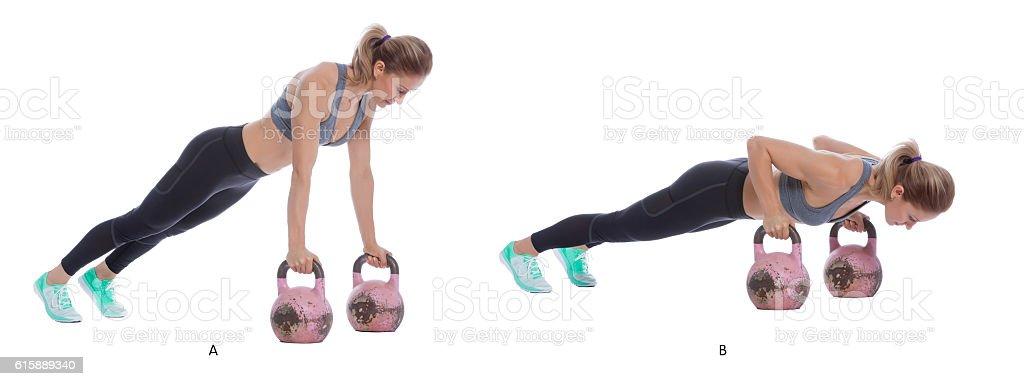 Kettlebell push up stock photo