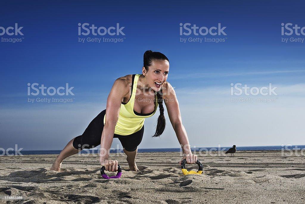 Kettlebell push-ups royalty-free stock photo