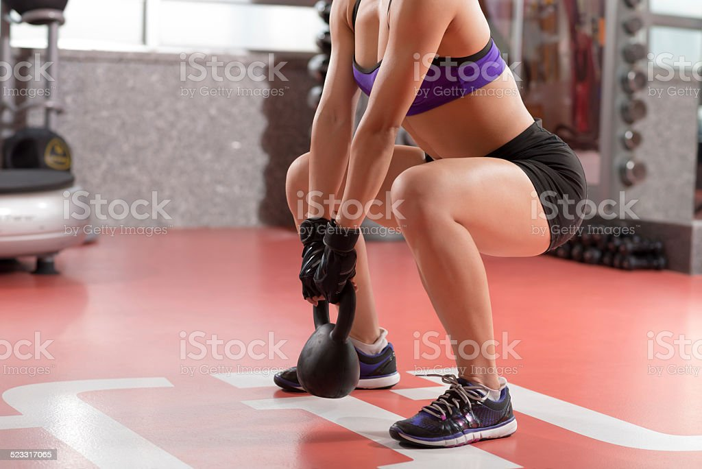Kettlebell weight exercise stock photo