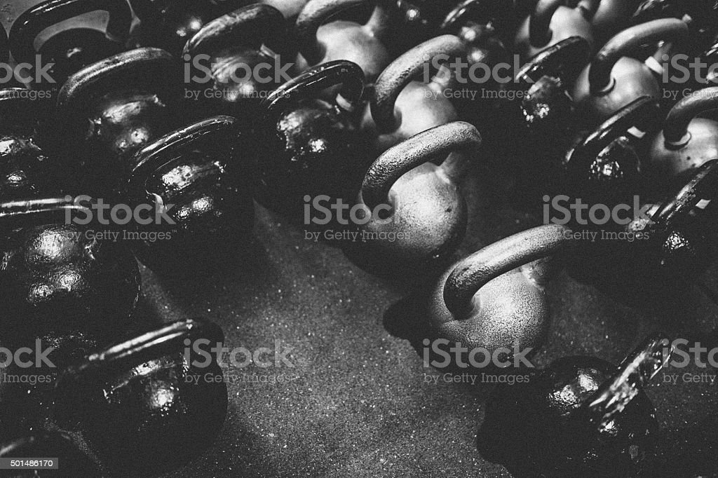 Kettlebells For Exercise Class stock photo