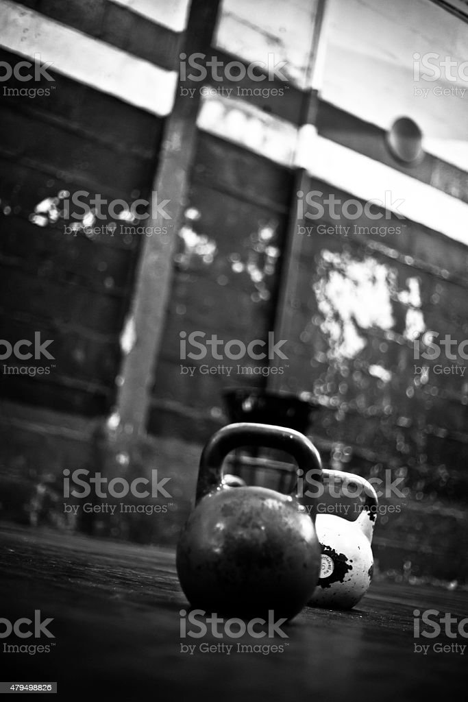 kettlebells in a gym gym IV stock photo