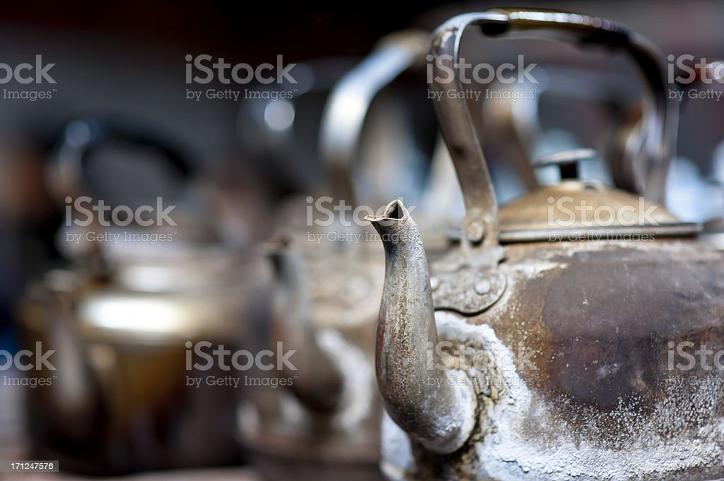 Kettles on stove in old tea house, Chengdu, China royalty-free stock photo