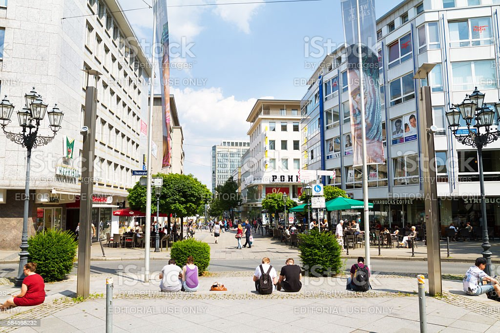 Kettwiger Straße in Essen seen from Theaterplatz stock photo