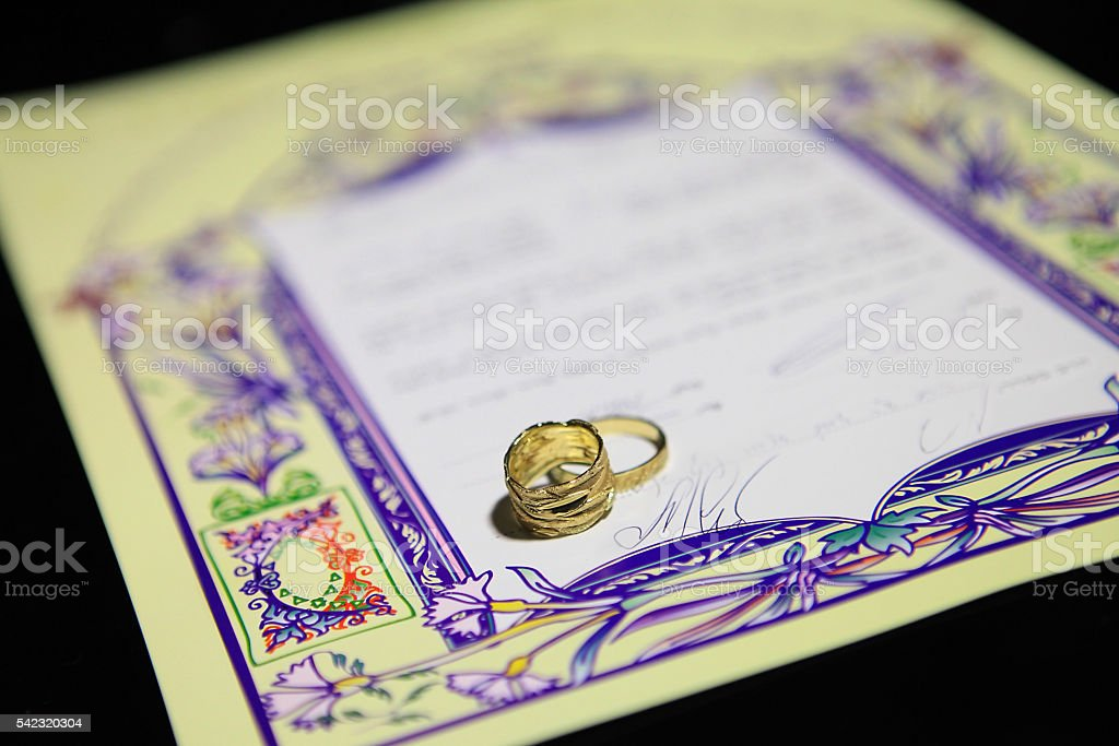 Ketubah - marriage contract in jewish religious tradition stock photo