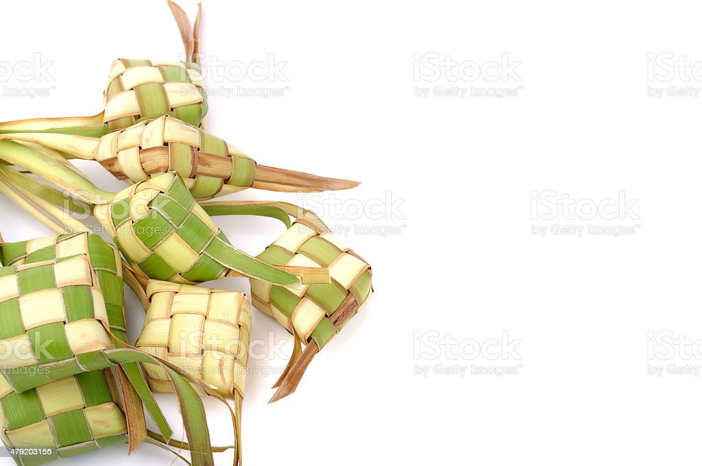 Ketupat (Rice Dumpling) On White Background stock photo