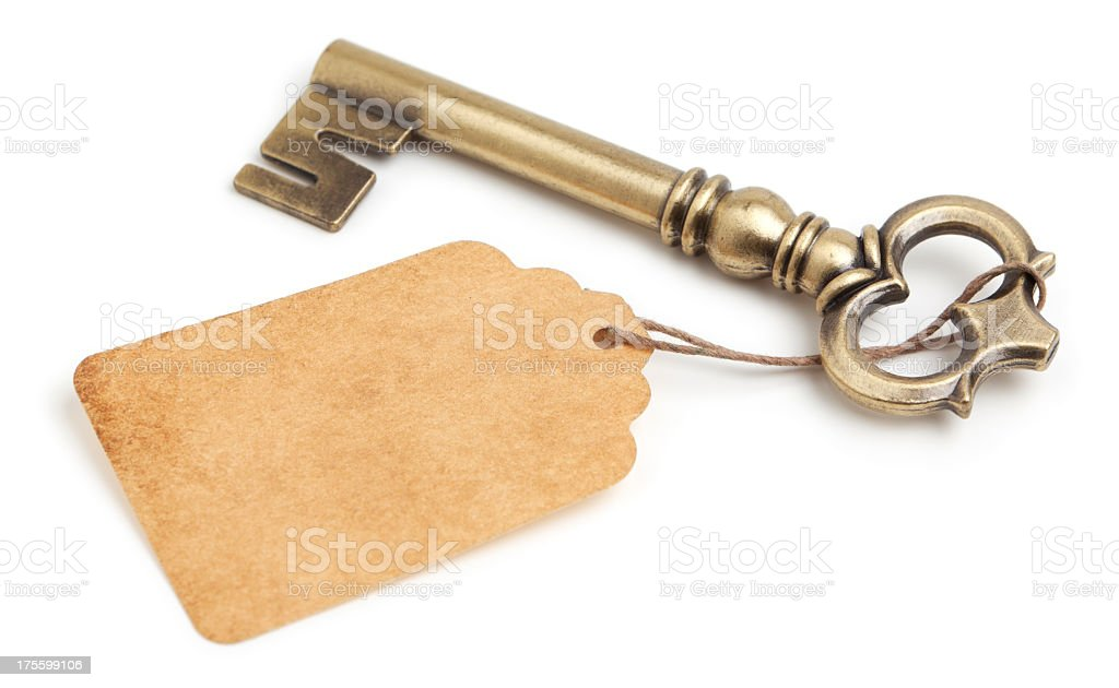 Key and blank tag stock photo