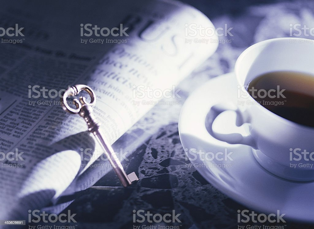 key and coffee cup royalty-free stock photo