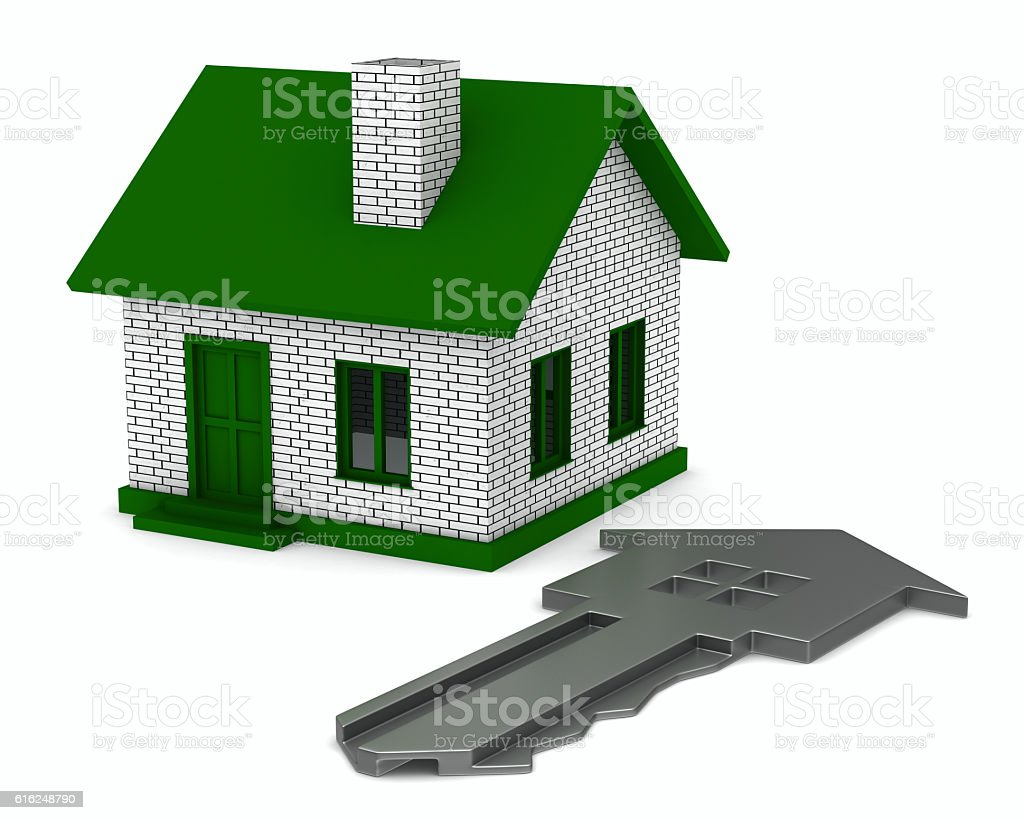 key and house on white background. 3D image stock photo