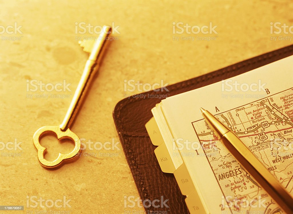 key and map royalty-free stock photo
