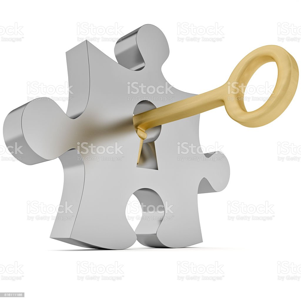 Key and puzzle stock photo