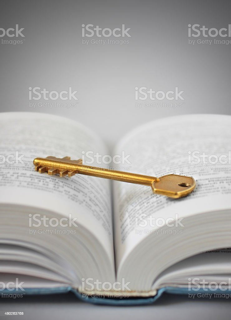 key and the book stock photo