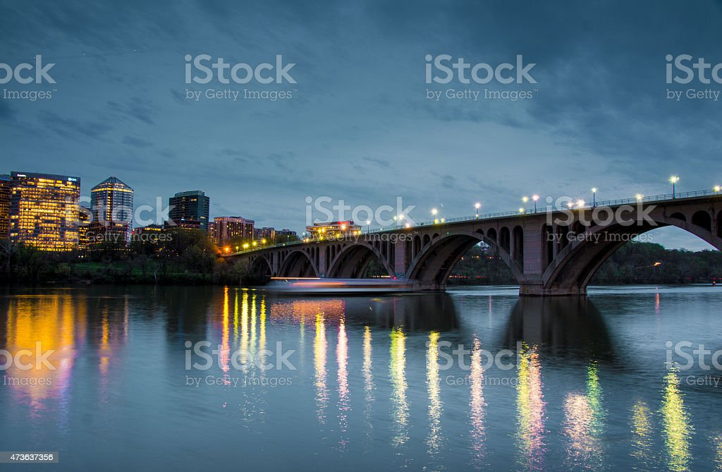 Key Bridge and Rosslyn Skyline, Washington DC stock photo