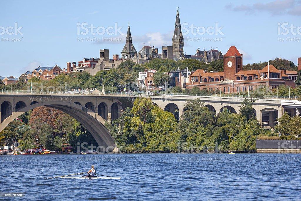 Key Bridge Georgetown University Washington DC Potomac River stock photo