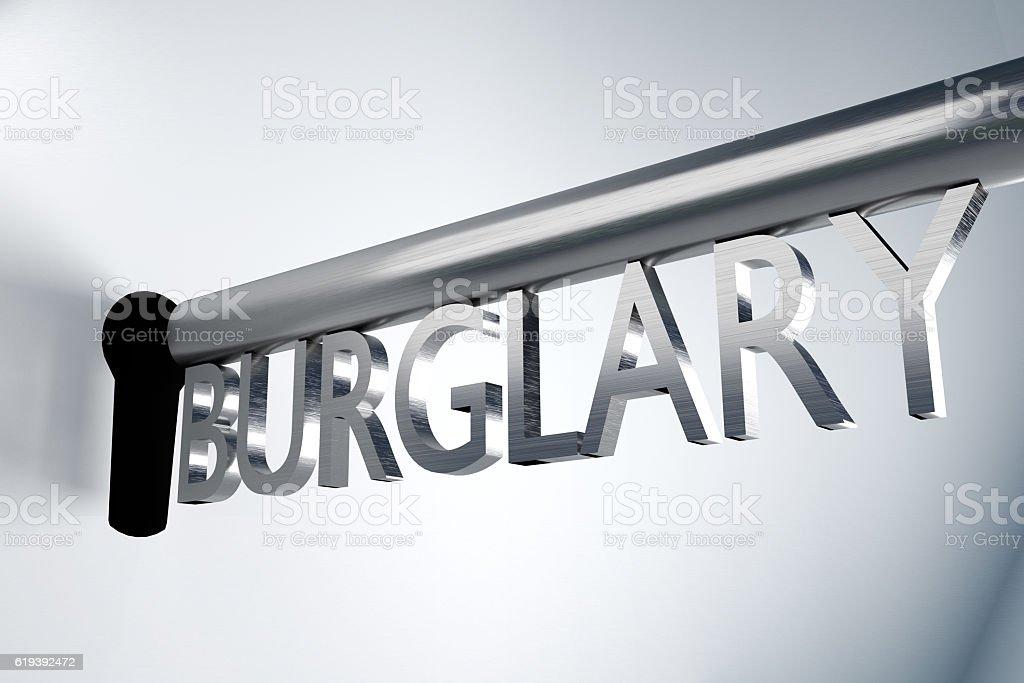 key burglary keyhole 3D Illustration stock photo