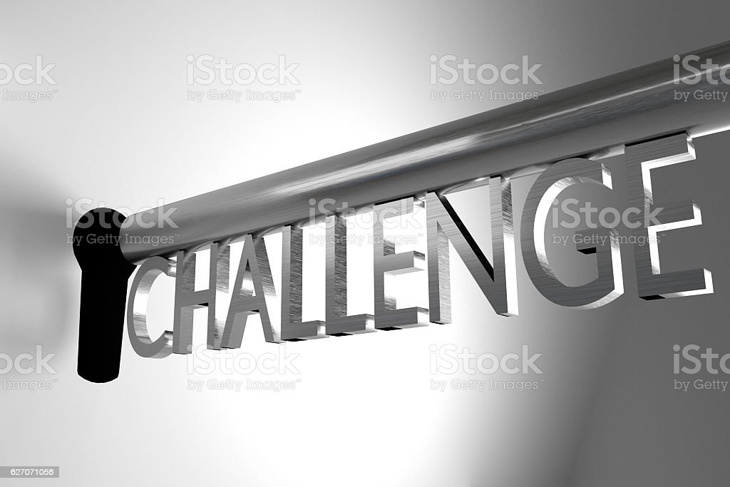 key challenge open lock keyhole 3D Illustration stock photo